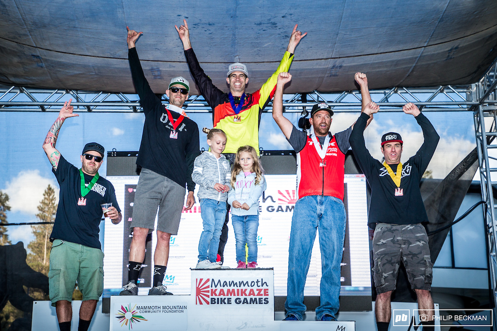 The Men s Legends of the Kamikaze podium l-r Colin Bailey 5th Rich Houseman 2nd Todd Snider 1st Greg Ghrist 3rd Eric Rasmussen 4th.