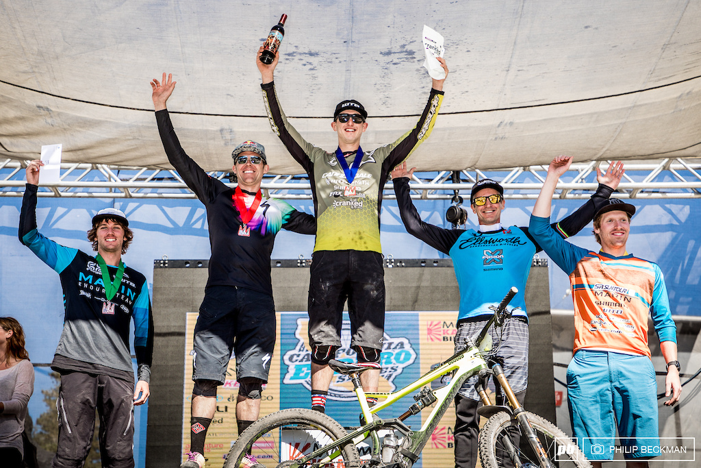 The Pro Men s podium with Marco Osborne on the top step. He s joined by l-r Evan Geankoplis Curtis Keene Brian Lopes and Kyle Warner.