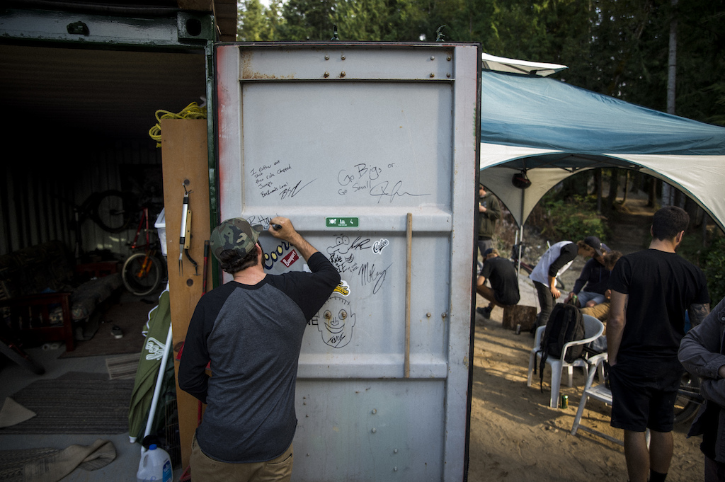 R-Dog leaving his mark on the container door. Ian Collins
