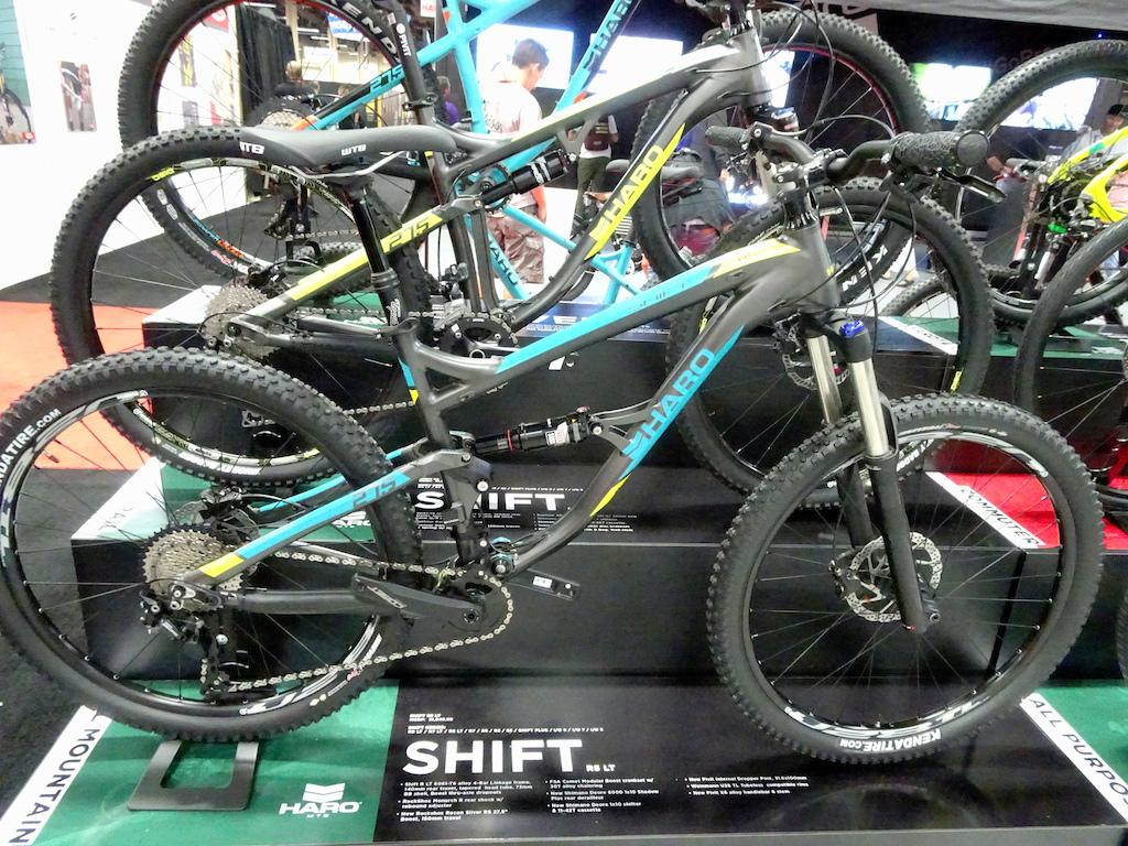 Haro is back in the mountain bike business with two aluminum dual-suspension trail bikes the Shift 53 and Shift R5 LT and a modest line of hardtails.