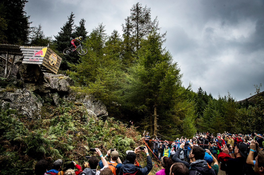 during the 2017 Red Bull Hardline downhill race.