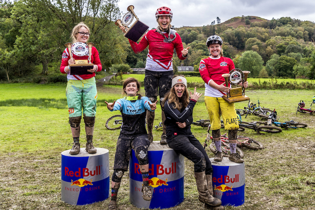 Katy Winston and Rachel Atherton celebrate with first place Mille Johnset on the podium of Red Bull Foxhunt in Wales UK on October 8 2017 Olaf Pignataro Red Bull Content Pool P-20171008-01924 Usage for editorial use only Please go to www.redbullcontentpool.com for further information.