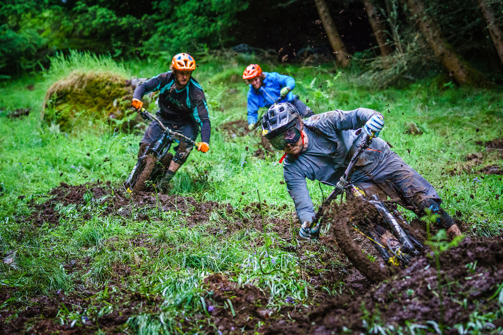 When it's this muddy, you can hardly steer. You just have to follow the tracks and stay on the bike.
