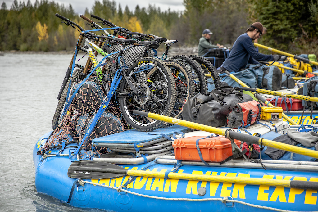 Brad Goodwin and Dave Prothero help load the rafts along with all the bikes before floating down the Tatshenshini River in the Tatshenshini-Alsek Provincial Park in British Columbia Canada on August 31 2016. Photo by Scott Serfas Red Bull Content Pool