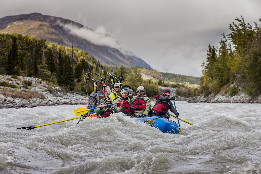 Darren Berrecloth along with Wade Simmons Tyler McCaul Carson Storch and their guide Mike Neville paddle down the Tatshenshini River in the Tatshenshini-Alsek Provincial Park in British Columbia Canada on September 6 2016. Photo by Scott Serfas Red Bull Content Pool