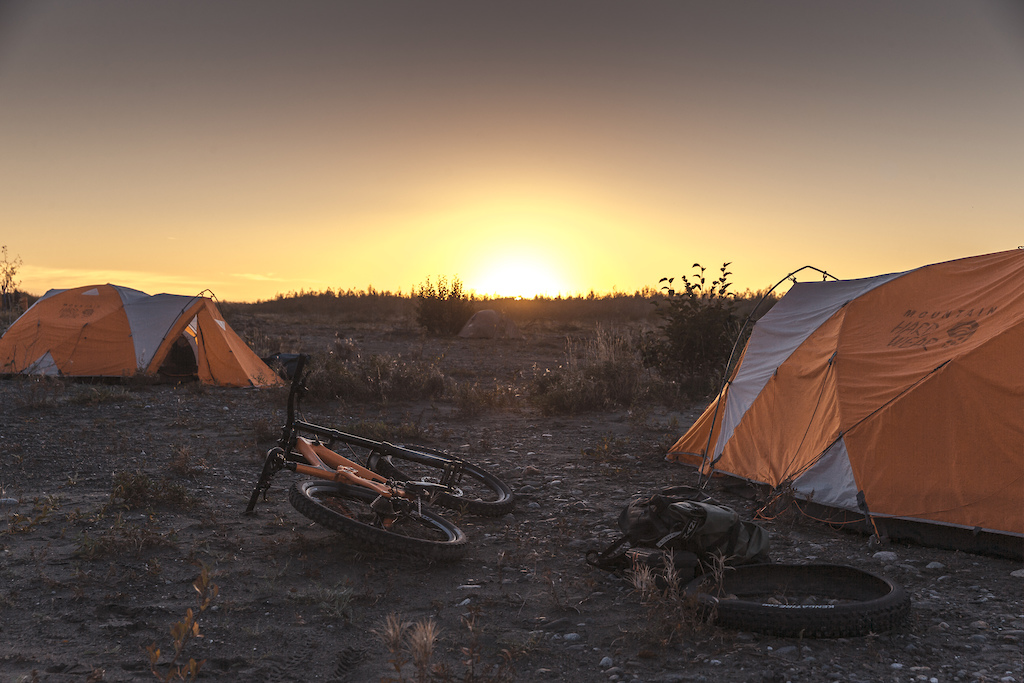Bikes and tents are pictured at camp on the last day of the making of Riding The Tatshenshini in Dry Bay Alaska on September 10 2016.