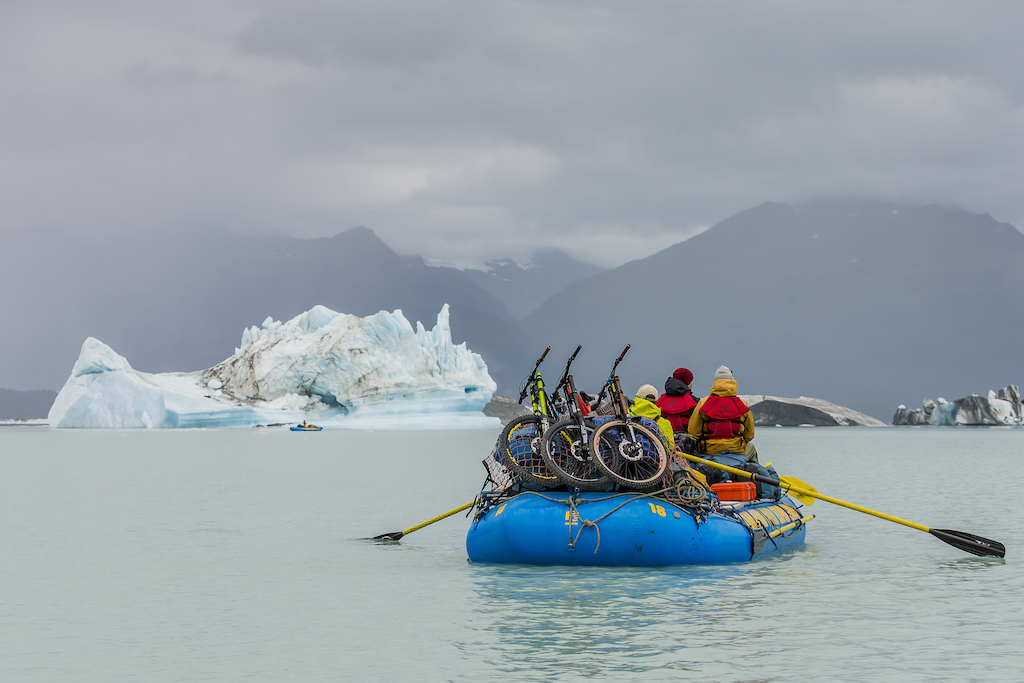 Darren Berrecloth along with Tyler McCaul Carson Storch and their guide Mike Neville paddle through Alsek Lake in the Tatshenshini-Alsek Provincial Park in British Columbia Canada on September 8 2016.