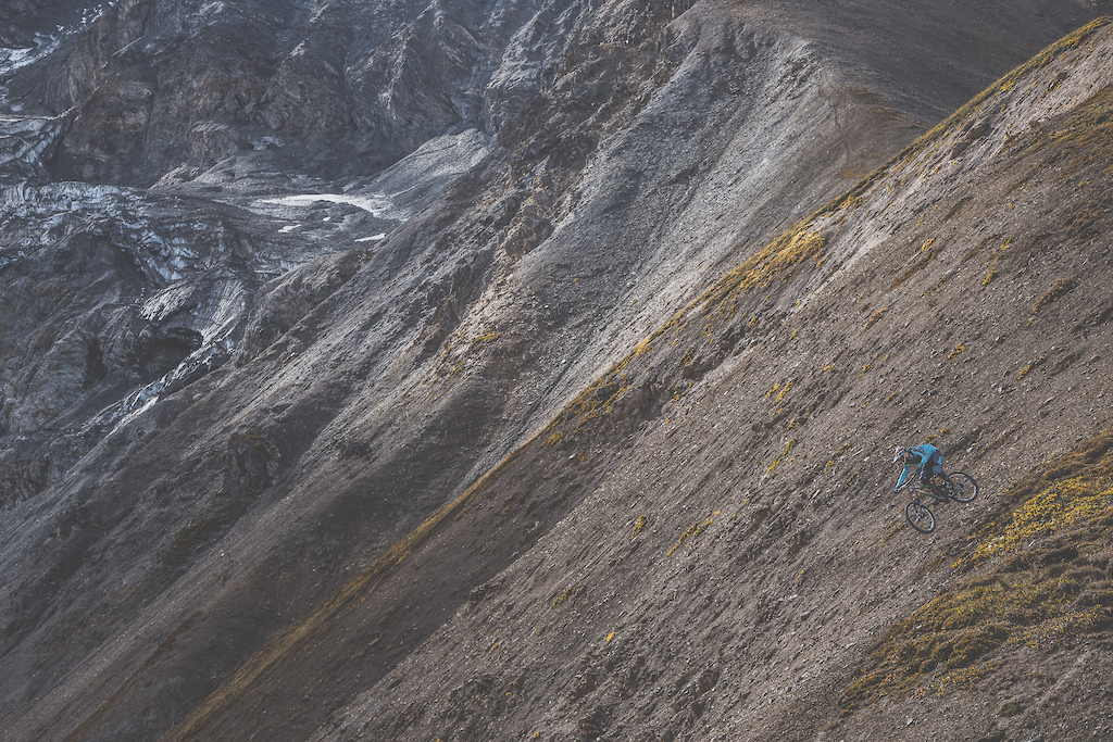 Wade Simmons rides down a previously untouched slope in the Tatshenshini-Alsek Provincial Park in British Columbia Canada on September 3 2016.
