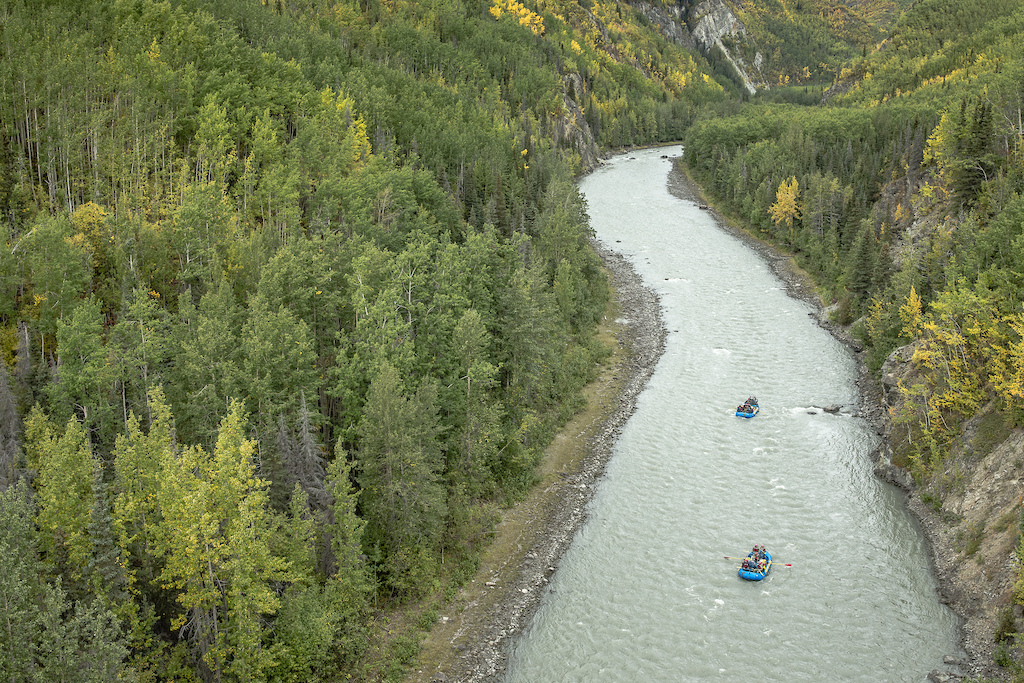 Darren Berrecloth along with Wade Simmons Tyler McCaul Carson Storch and their guide Mike Neville float down the Tatshenshini River in the Tatshenshini-Alsek Provincial Park in British Columbia Canada on September 1 2016.