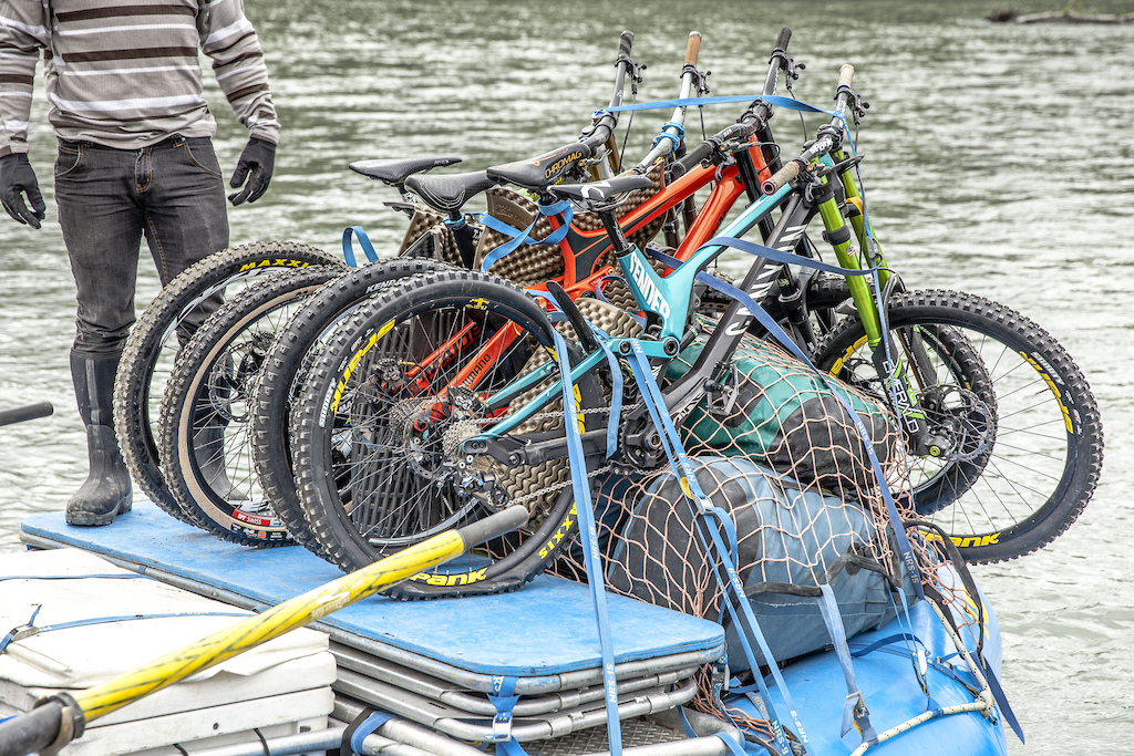Darren Berrecloth and all the bikes loaded onto a raft before floating down the Tatshenshini River in the Tatshenshini-Alsek Provincial Park in British Columbia Canada on August 31 2016.