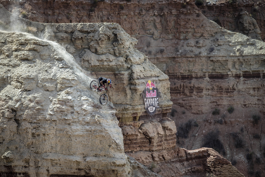 Andreu Lacondeguy rides during Red Bull Rampage in Virgin UT USA on 14 October 2016. Christian Pondella Red Bull Content Pool P-20161015-00361 Usage for editorial use only Please go to www.redbullcontentpool.com for further information.