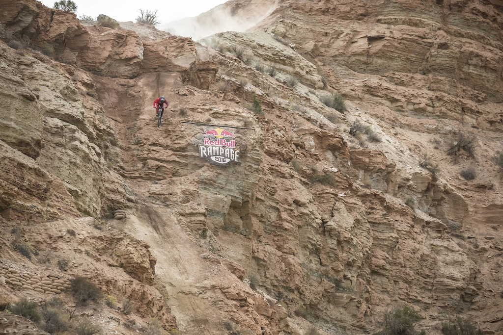 Brandon Semenuk competes at Red Bull Rampage in Virgin Utah USA on 14 October 2016. Garth Milan Red Bull Content Pool P-20161015-00490 Usage for editorial use only Please go to www.redbullcontentpool.com for further information.
