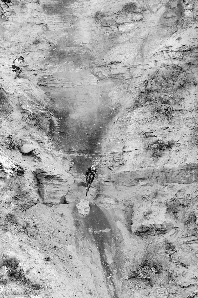 Andreu Lacondeguy exits an impossibly steep chute at warp speed.