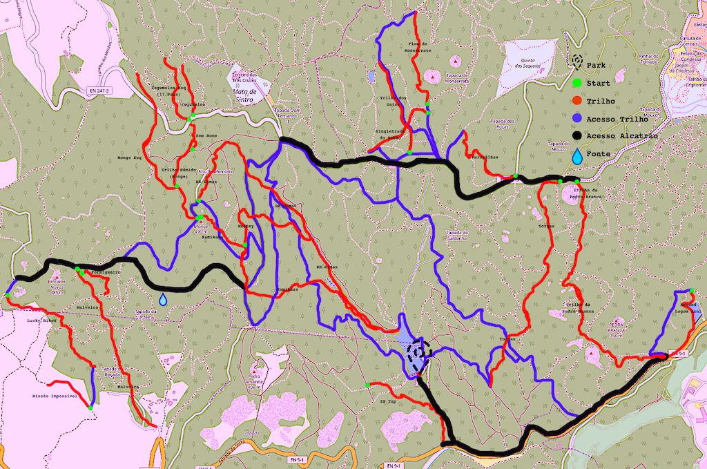 Mapa dos melhores trilhos à volta da barragem do rio da mula na serra de sintra compilação do Strada + Trailforks