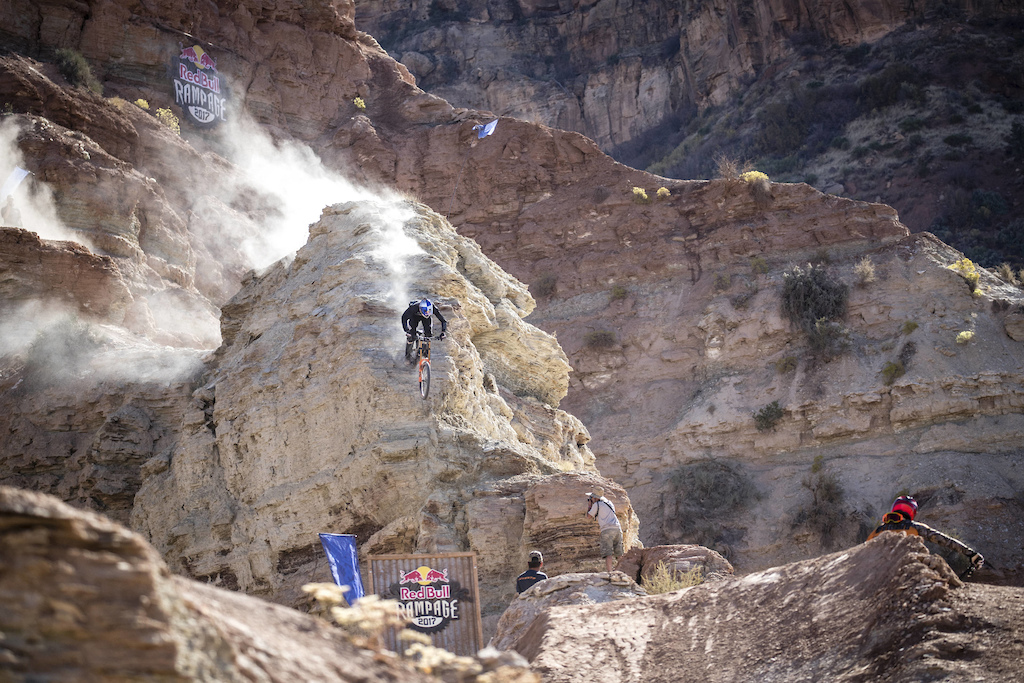 Thomas Genon competes at Red Bull Rampage in Virgin Utah USA on 27 October 2017. Christian Pondella Red Bull Content Pool P-20171028-00728 Usage for editorial use only Please go to www.redbullcontentpool.com for further information.