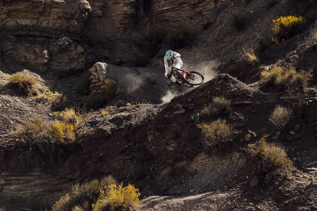 Brett Rheeder competes at Red Bull Rampage in Virgin Utah on October 27th 2017 Bartek Wolinski Red Bull Content Pool P-20171028-00814 Usage for editorial use only Please go to www.redbullcontentpool.com for further information.