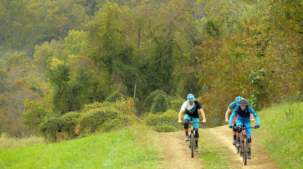 Gerry Creighton riding with Jeff Lenosky and Brice Shirbach in Brandywine Creek State Park