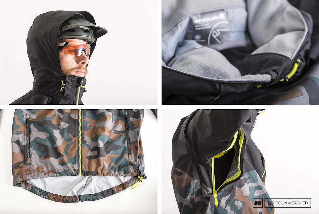 Details of the Singletrack Jacket II a stowaway hood that easily deploys over a helmet a plush micro fleece collar a well appointed drop seat and pit zips.