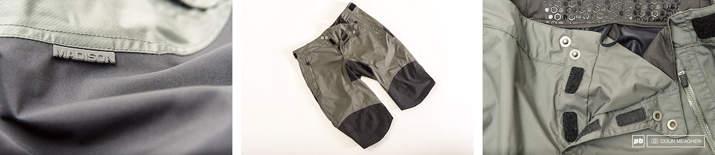Madison s DTE Waterproof short so much awesome at such a good price. Details 3 layer fabric in the high wear areas double snaps on the fly and a privacy patch to keep water out and privates well private gripper elastic and waist tab adjusters.