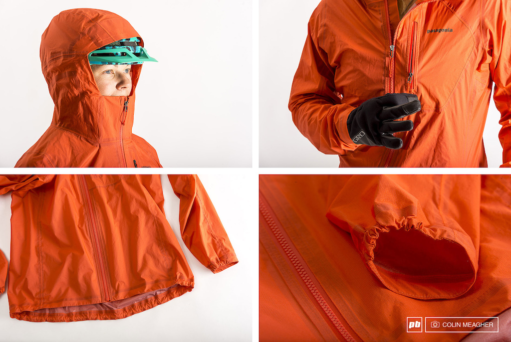 Patagonia s Storm Racer Jacket features including full helmet coverage zippered chest pocket drop tail and half-elastic wrist cuff.