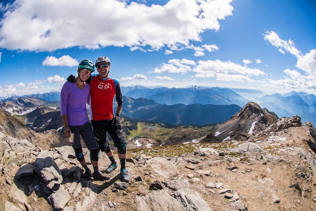 Colin Meagher and Nikki Hollatz enjoying the views from Mt Cartier Revelstoke BC.