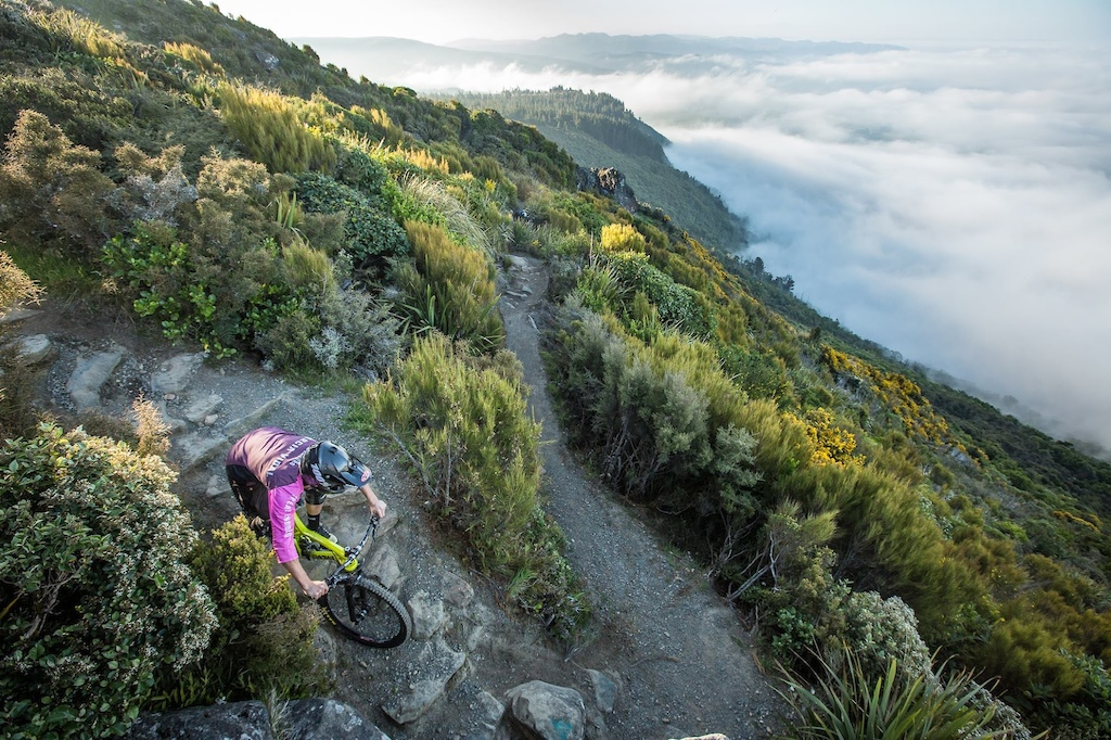 Jorge Garcia, of Spain, tests out the infamous Mt Cargill stage ahead of the 2017 edition of the Emerson's 3 Peaks Enduro mountain bike race held in the hills above Dunedin, New Zealand.