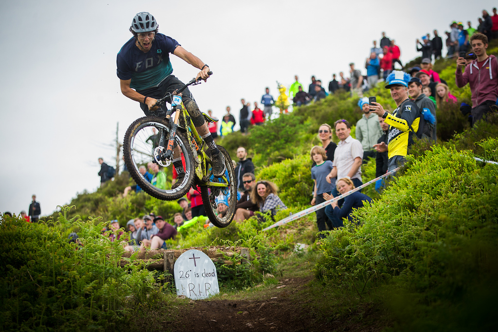 Is 275 next?  As the last guy to win a World Cup on 26, the first to take the overall on 275, and seen here boosting on a 29er, Ratboy is probably wondering what all the fuss is about.