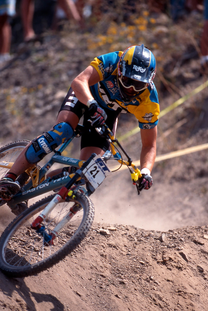 Kirt Voreis racing his DH6 to second place at the 1996 Big Bear World Cup DH