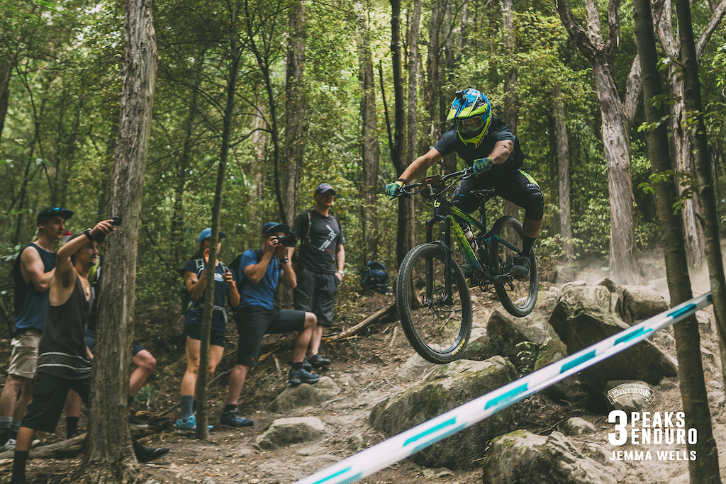 Joseph Nation of Christchurch takes a direct line to the finish of Stage 6 Student Track in the 3 Peaks Enduro.