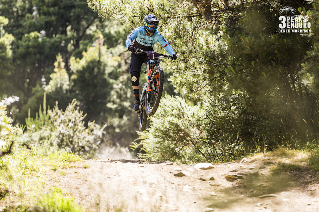 Katy Winton on her way to winning the women s division of 2017 Emerson s 3 Peaks Enduro mountain bike race held in the hills above Dunedin New Zealand at the weekend December 02-03 2017 .