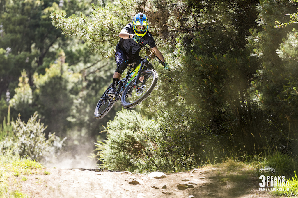 Joseph Nation tries to claw back Keega Wright s lead during Day 2 of racing in the sixth edition of the Emerson s 3 Peaks Enduro mountain bike race held in the hills above Dunedin New Zealand at the weekend December 02-03 2017 .