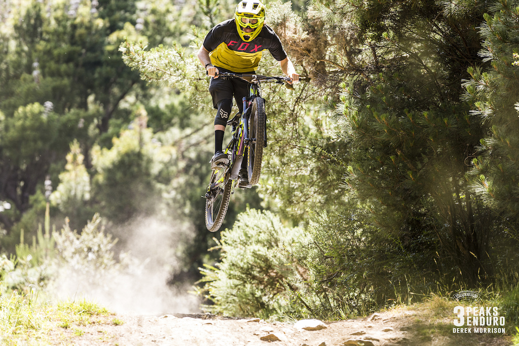 Keegan Wright of Rotorua emerges victorious at the sixth edition of the Emerson s 3 Peaks Enduro mountain bike race held in the hills above Dunedin New Zealand at the weekend December 02-03 2017 .