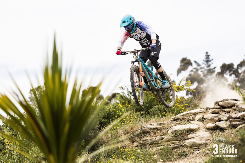 Jubal Davis of Colorado races to third place in the sixth edition of the Emerson s 3 Peaks Enduro mountain bike race held in the hills above Dunedin New Zealand at the weekend December 02-03 2017 .