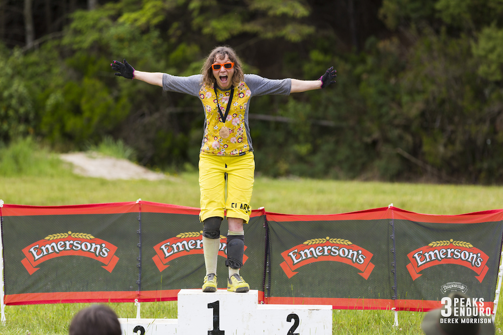 Melanie Blomfield wins the Masters division in the sixth edition of the Emerson s 3 Peaks Enduro mountain bike race held in the hills above Dunedin New Zealand at the weekend December 02-03 2017 .