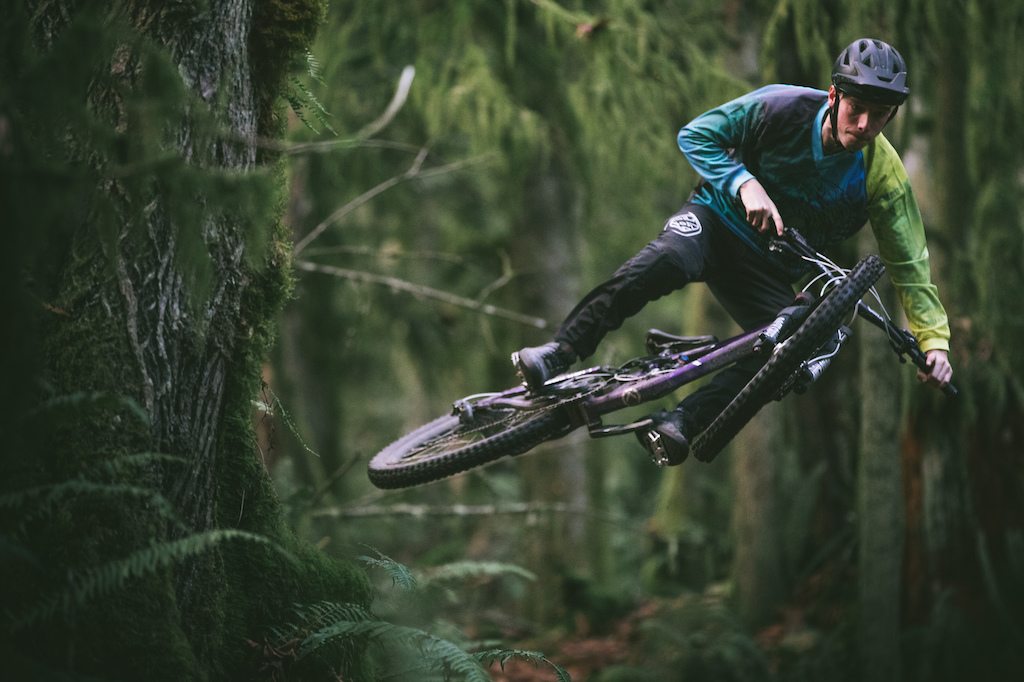 Testing out that new bike on some local jumps out on that one trail in the woods.