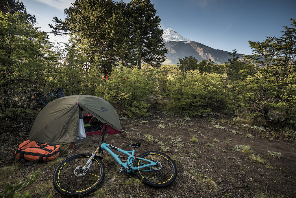 Camping argue foot of Lanin volcano at the start of the 3 day traverse to Pucon