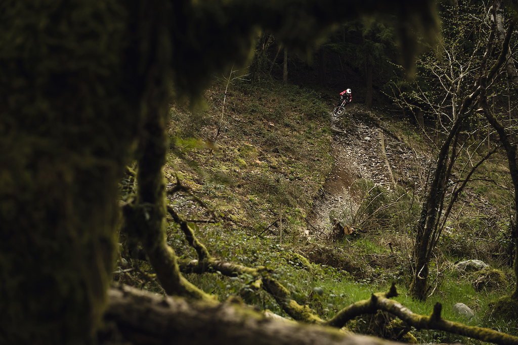 The final 10m of descent from just one of the downhill tracks Dan has crafted at Dyfi.