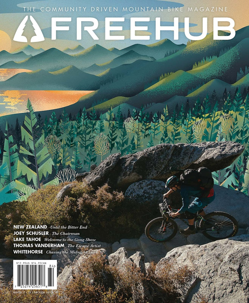 Cover of Freehub Magazine Issue 8.4  Rider: Kevin Landry Photo: Margus Riga Artwork: Eric Nyffeler