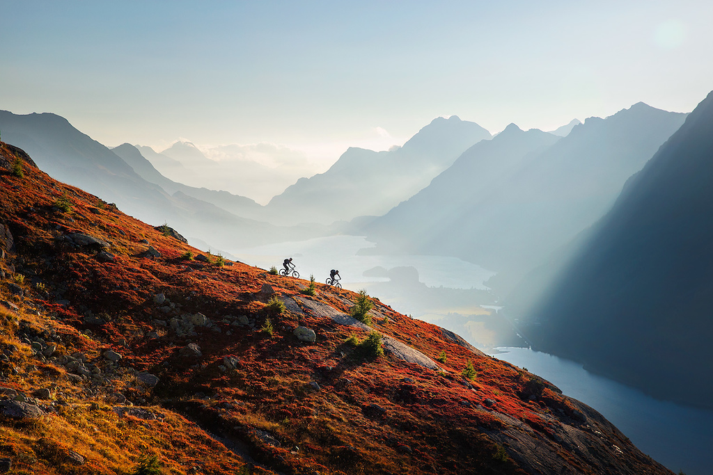 Riding the last light above the Engadin valley.