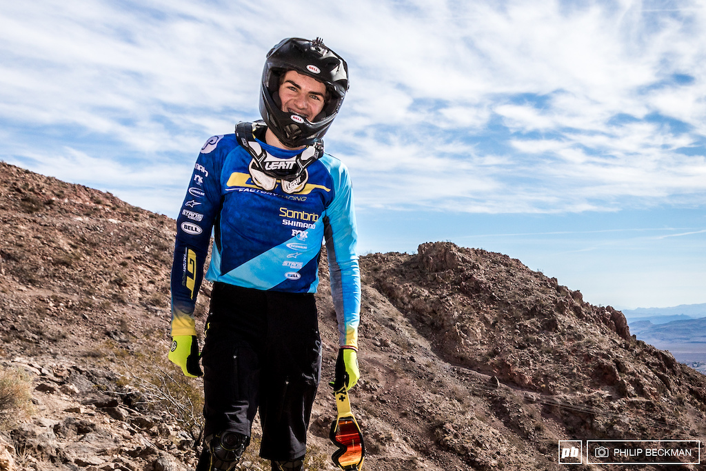 Utah s Joey Foresta is caught checking out the start of the Armageddon trail at the top of the downhill.