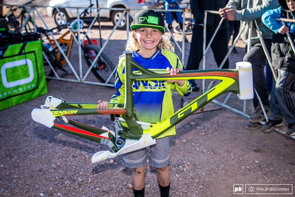 How about the weekend Justin Duncan had This lad not only won the Junior Men 6-10 Downhill but walked away with a new GT frame after having his number drawn in the raffle.