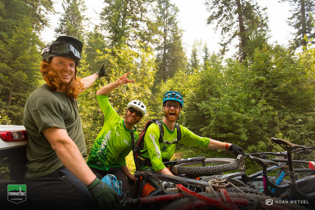 Trans BC Enduro Riders in their Kazoom custom 3/4 sleeve jerseys.