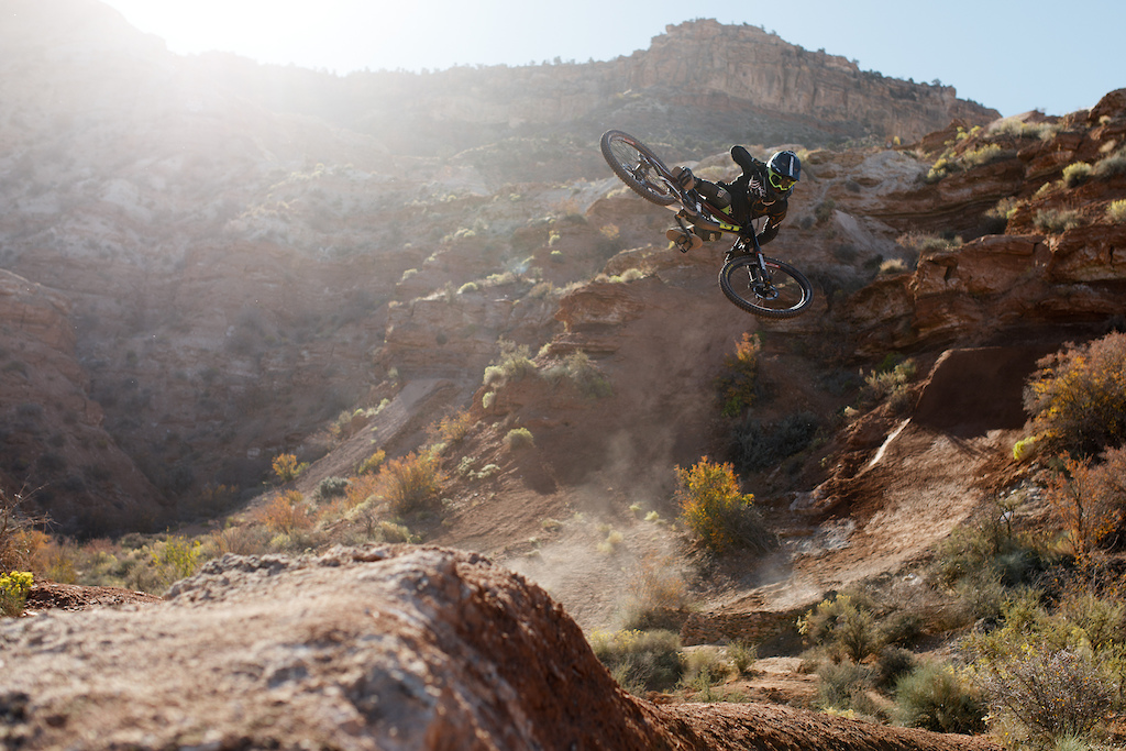 T-Mac getting sideways on his line at Rampage 2017.
