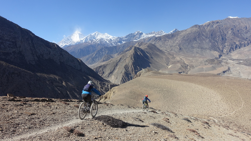Dropping in on some epic singletrack just outside of Muktinath.