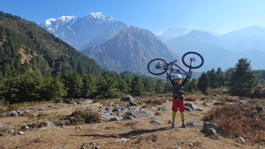 Riding through the Mustang region of Nepal from Tukuche to Tatopani on the Annapurna Circuit.