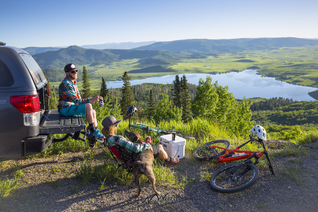 Apres above Lake Catamount in Steamboat Springs Colorado with Justin Reiter and Mike Rundle.