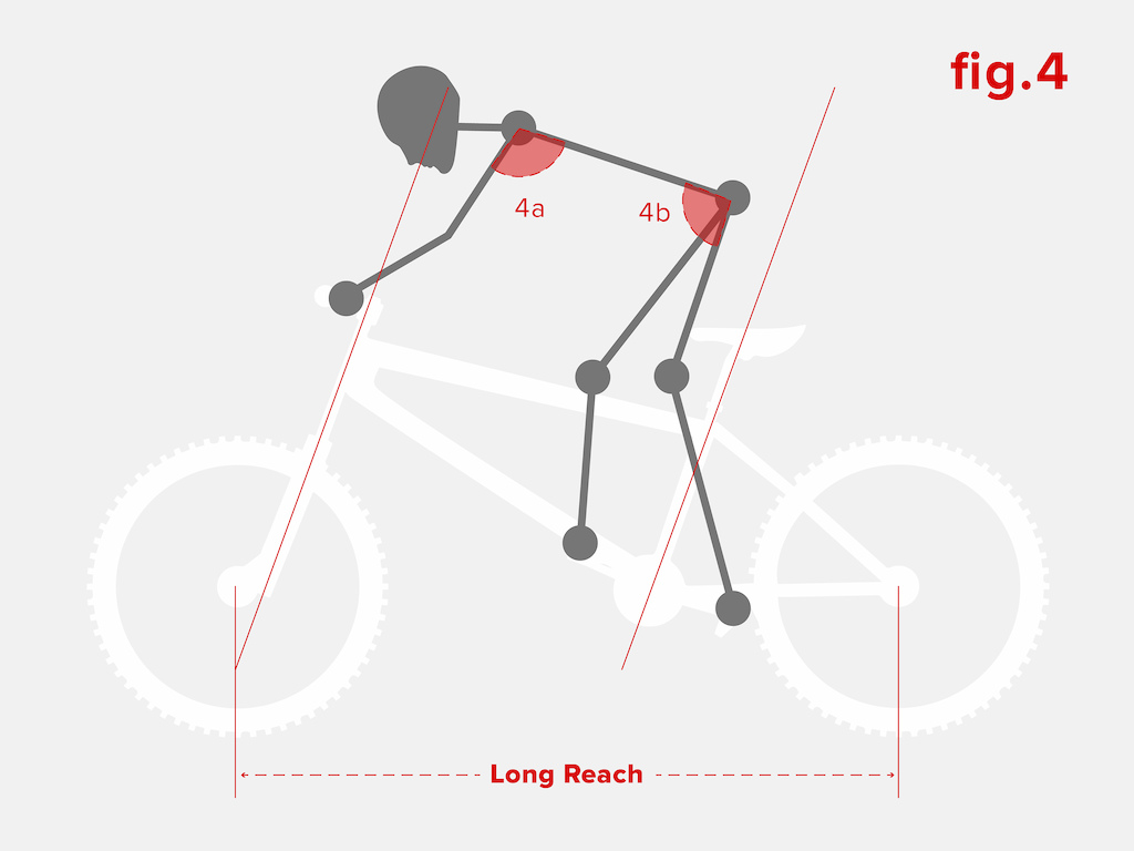 When the bike is too long you can see that although the arms and torso are still in strong position the hips are brought forwards on the bike - stretching the body out to a weak position where your control of the bike is reduced.