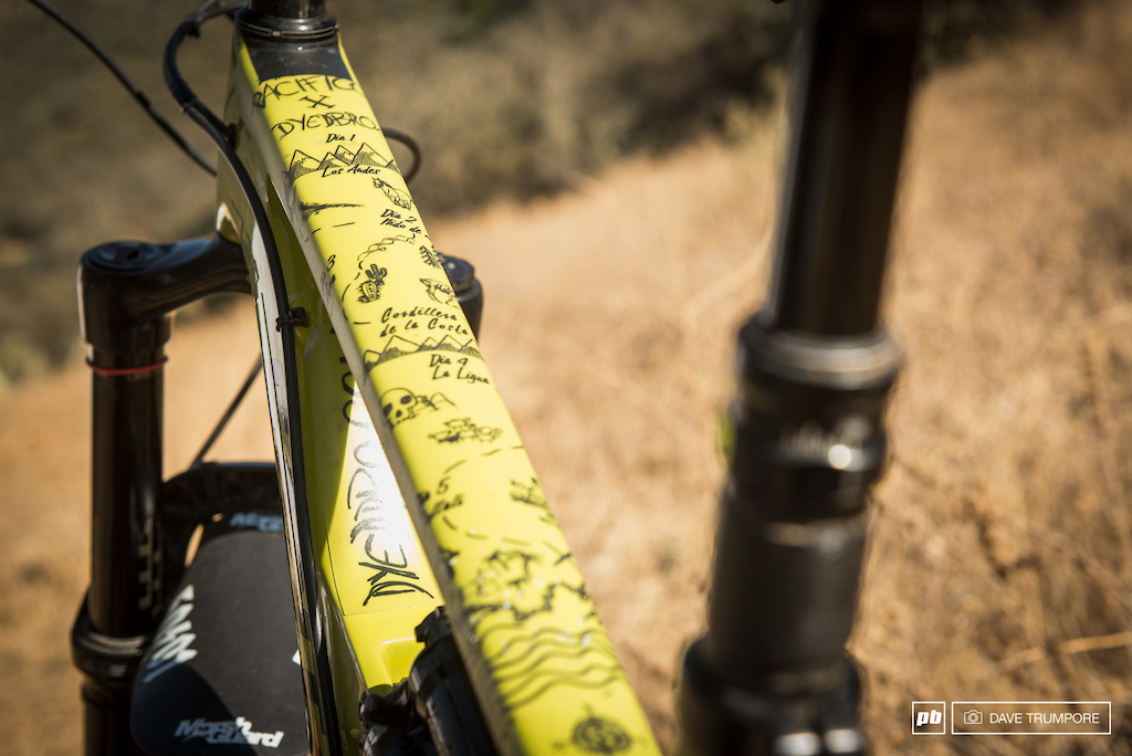 Iago Garay drew up custom top tube protectors that also double as a map of the five day trip from the Andes to the Pacific Ocean.
