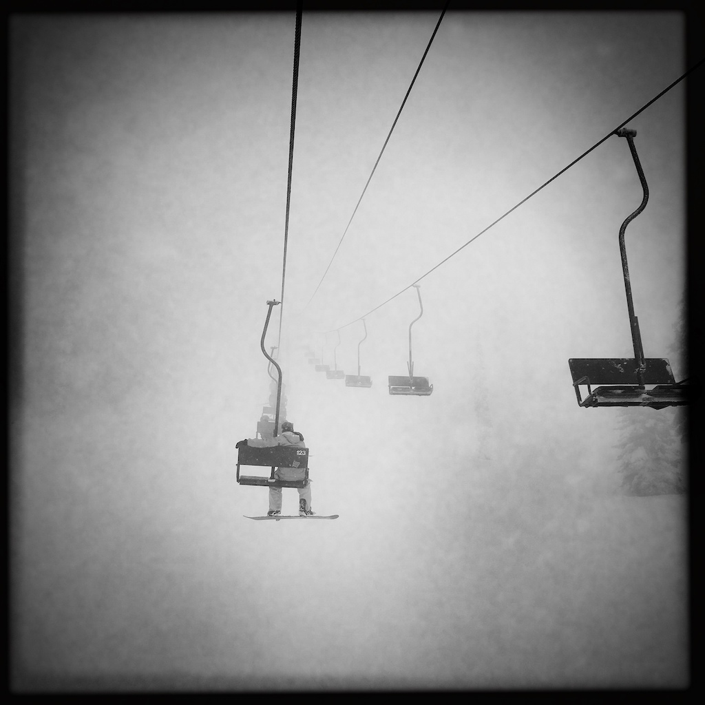 into the fog on the chairlift.