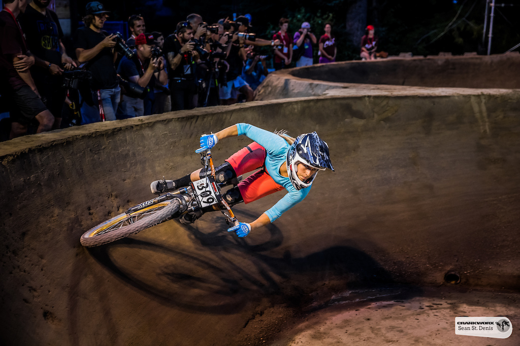 Micayla Gatto at the Ultimate Pump Track Challenge presented by RockShox at Crankworx in Whistler British Columbia Canada. Photo Sean St.Denis